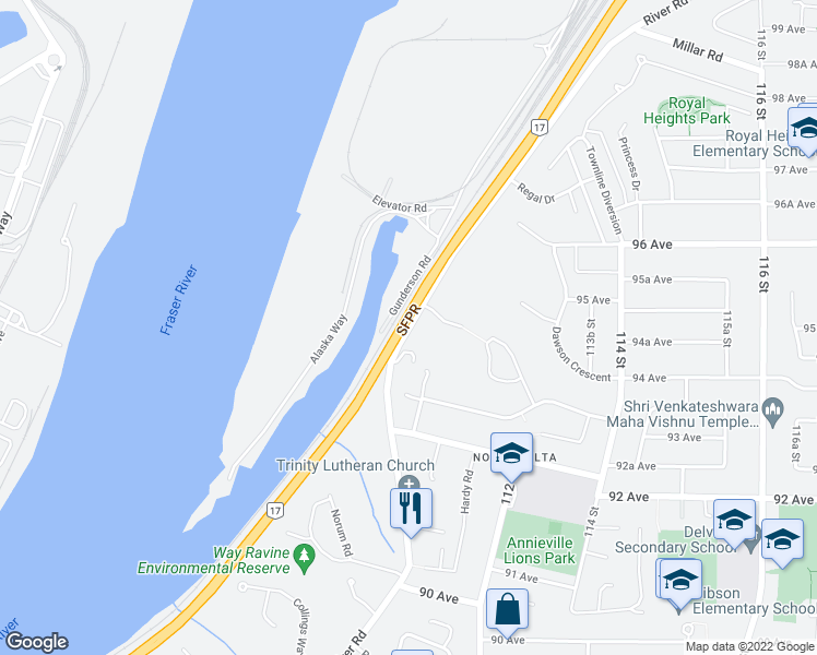 map of restaurants, bars, coffee shops, grocery stores, and more near 11142 River Road in Delta