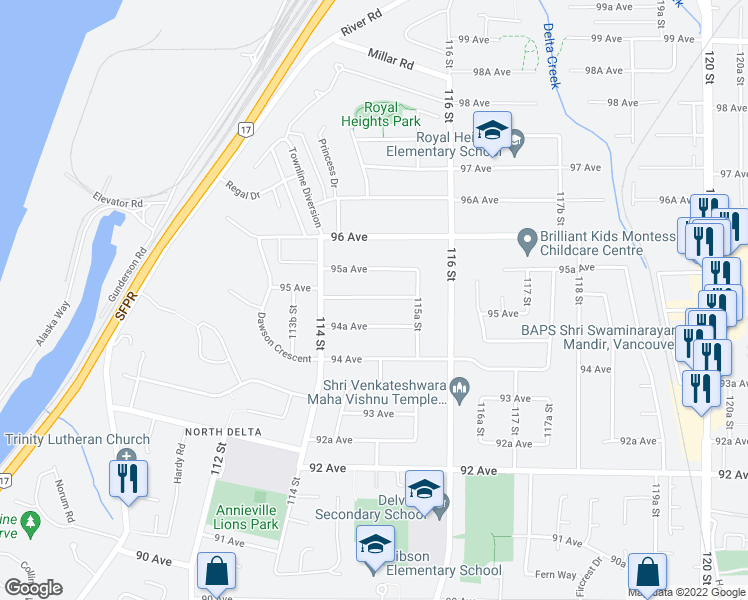 map of restaurants, bars, coffee shops, grocery stores, and more near 11480 95 Avenue in Delta