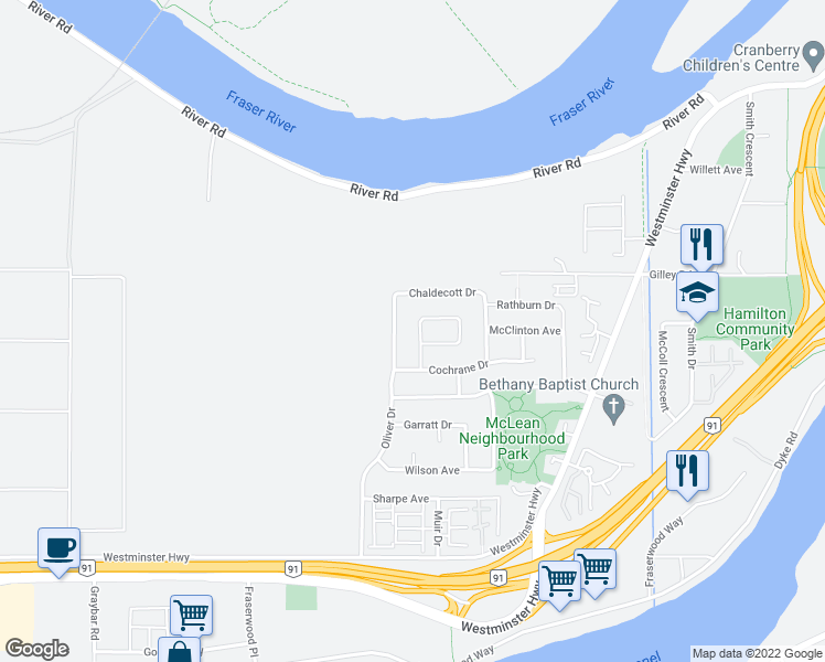 map of restaurants, bars, coffee shops, grocery stores, and more near 5151 Rowling Place in Richmond