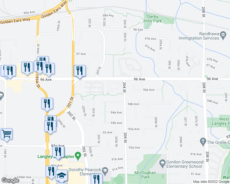 map of restaurants, bars, coffee shops, grocery stores, and more near 9525 204 Street in Langley City