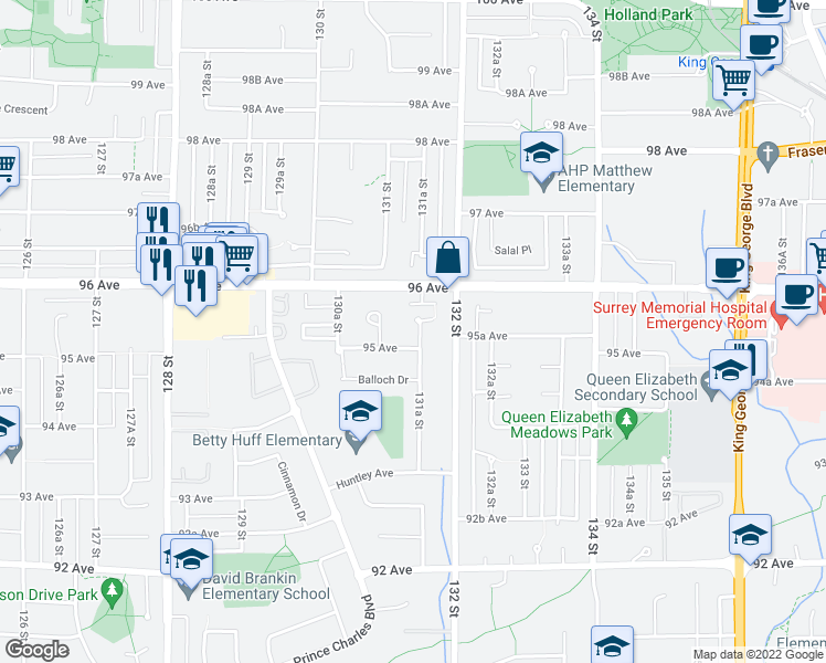 map of restaurants, bars, coffee shops, grocery stores, and more near 9537 Nairn Place in Surrey