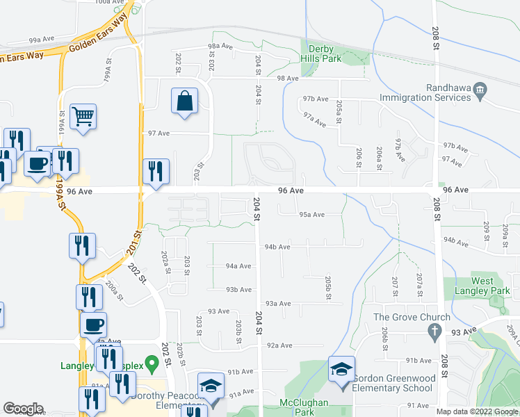 map of restaurants, bars, coffee shops, grocery stores, and more near 9556 204 Street in Langley City