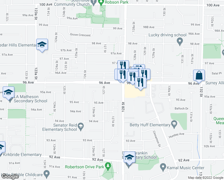 map of restaurants, bars, coffee shops, grocery stores, and more near 9555 128 Street in Surrey
