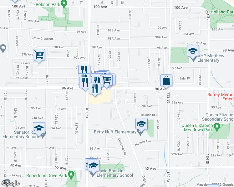 map of restaurants, bars, coffee shops, grocery stores, and more near 9580 Prince Charles Boulevard in Surrey