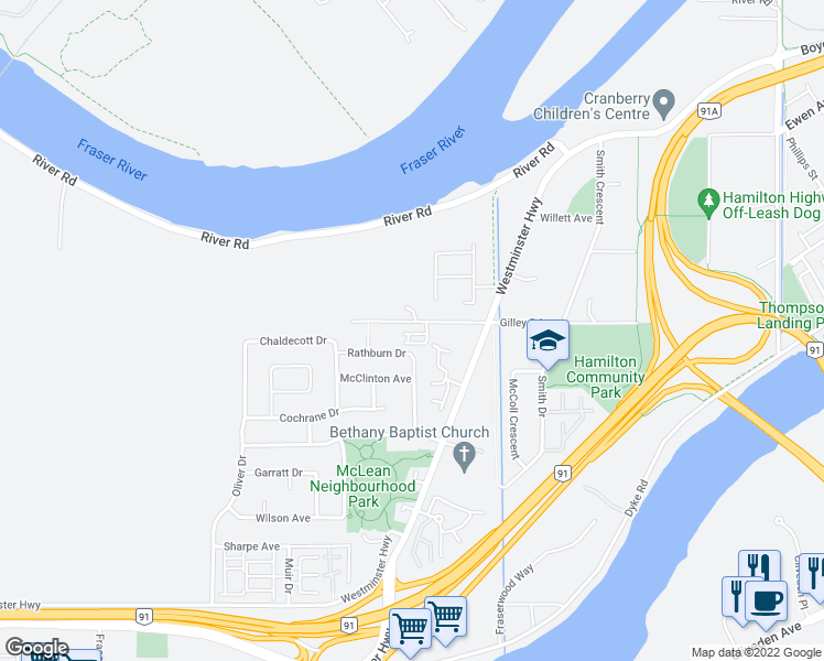 map of restaurants, bars, coffee shops, grocery stores, and more near 22600 Gilley Road in Richmond