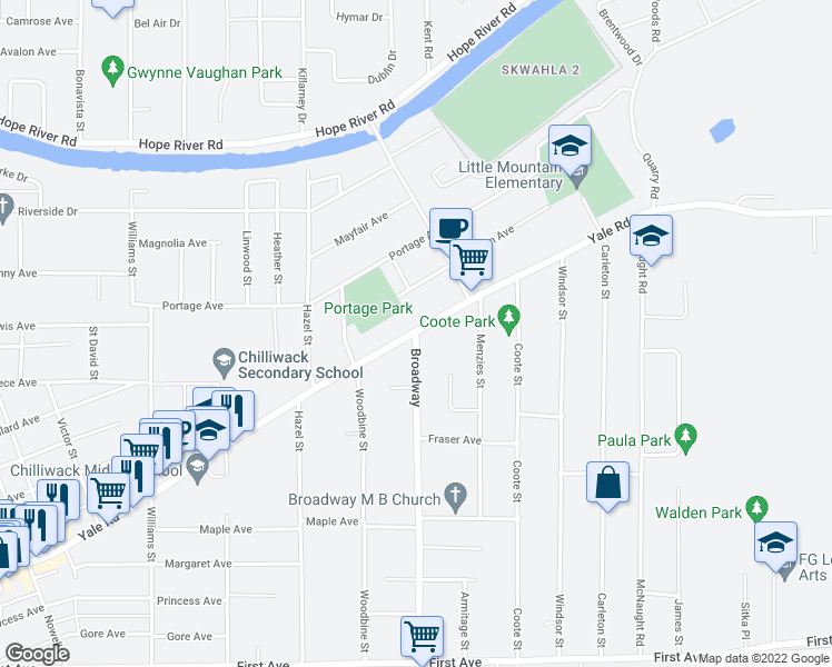 map of restaurants, bars, coffee shops, grocery stores, and more near 9642 Broadway in Chilliwack