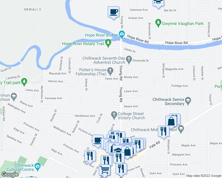 map of restaurants, bars, coffee shops, grocery stores, and more near 45925 Lewis Avenue in Chilliwack