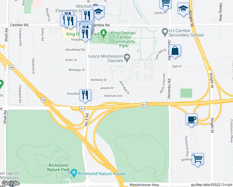map of restaurants, bars, coffee shops, grocery stores, and more near 12460 Jensen Drive in Richmond