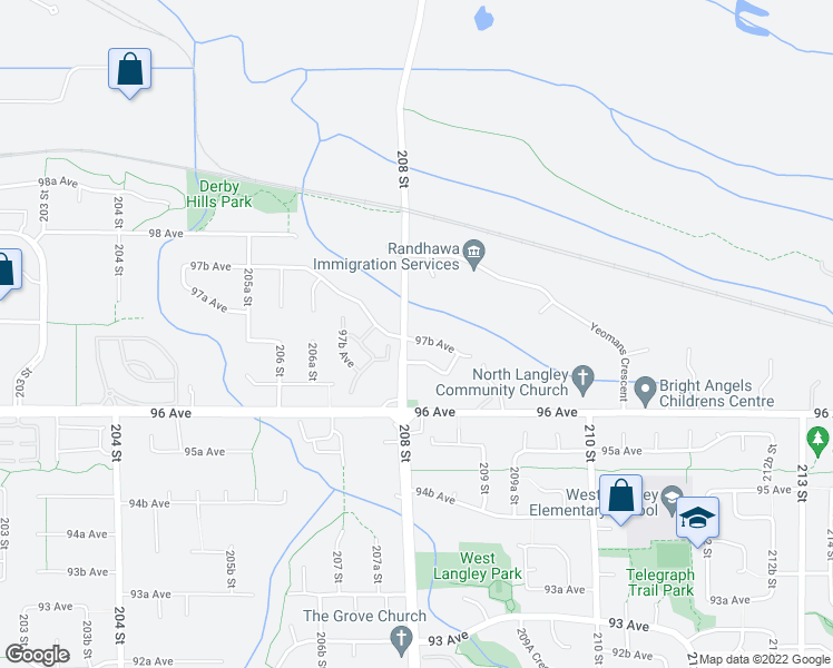 map of restaurants, bars, coffee shops, grocery stores, and more near 20807 97B Avenue in Langley