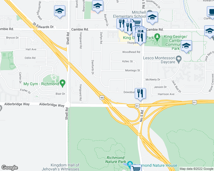 map of restaurants, bars, coffee shops, grocery stores, and more near 4211 Deerfield Crescent in Richmond