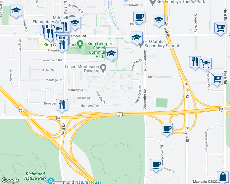 map of restaurants, bars, coffee shops, grocery stores, and more near 12500 McNeely Drive in Richmond