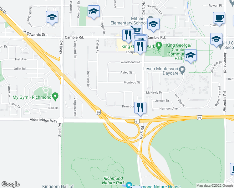map of restaurants, bars, coffee shops, grocery stores, and more near 4480 Deerfield Crescent in Richmond