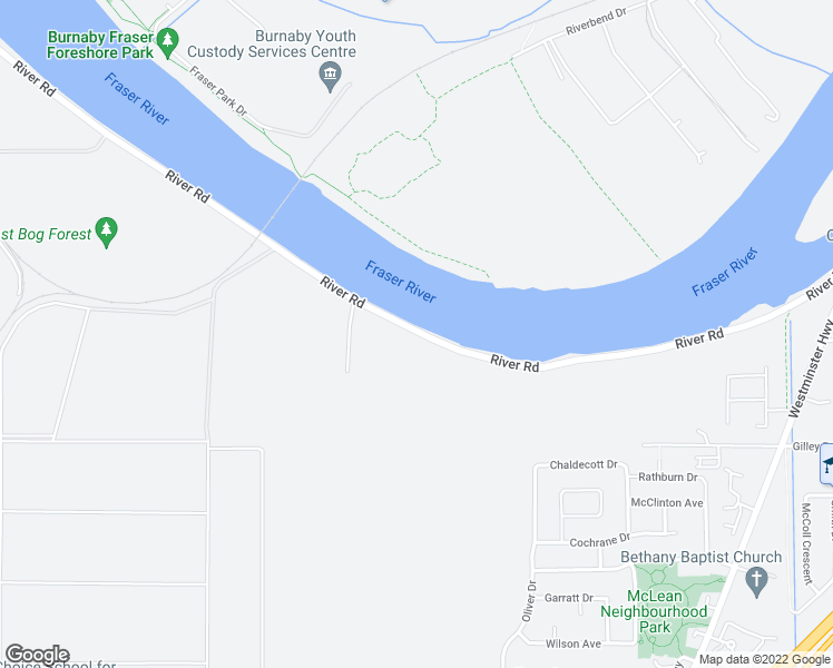 map of restaurants, bars, coffee shops, grocery stores, and more near 21800 River Road in New Westminster