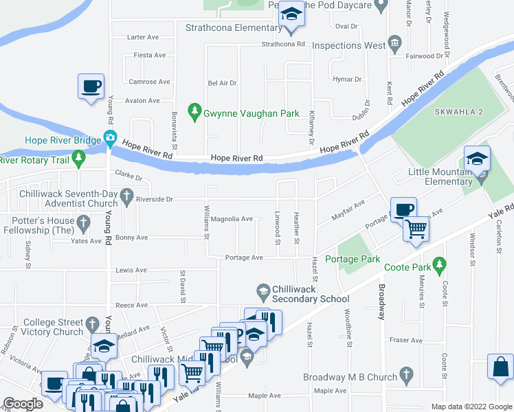 map of restaurants, bars, coffee shops, grocery stores, and more near 46302 Riverside Drive in Chilliwack