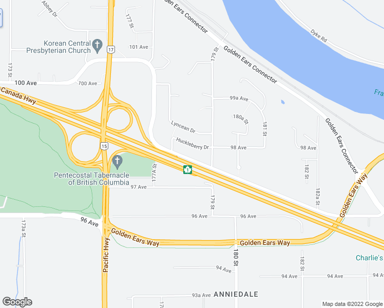 map of restaurants, bars, coffee shops, grocery stores, and more near 17843 Barnston Drive East in Surrey