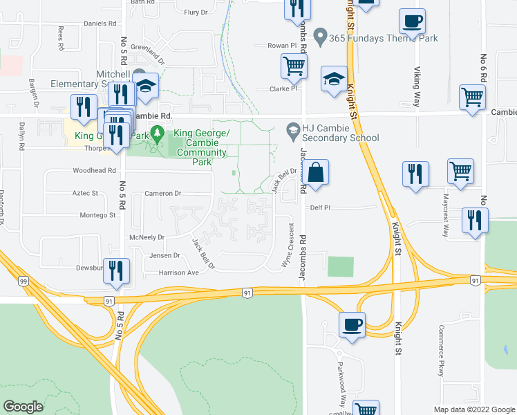 map of restaurants, bars, coffee shops, grocery stores, and more near 12891 Jack Bell Drive in Richmond