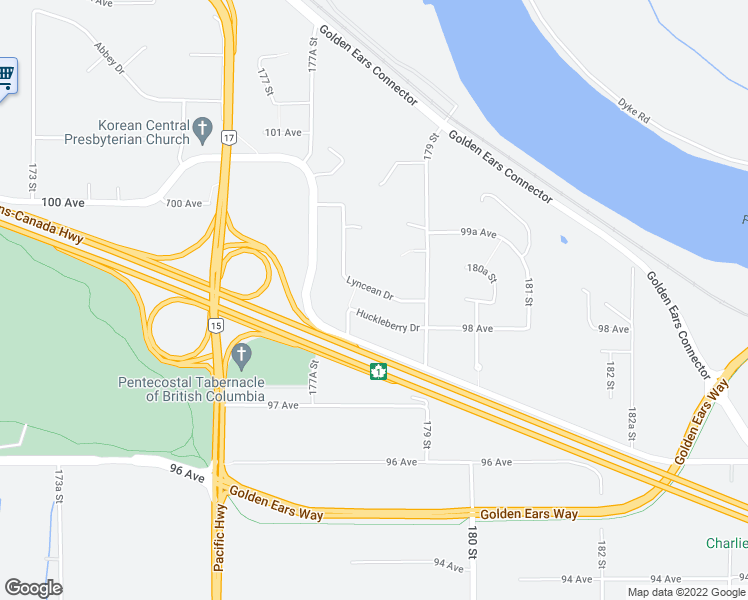 map of restaurants, bars, coffee shops, grocery stores, and more near 9867 Lyncean Drive in Surrey