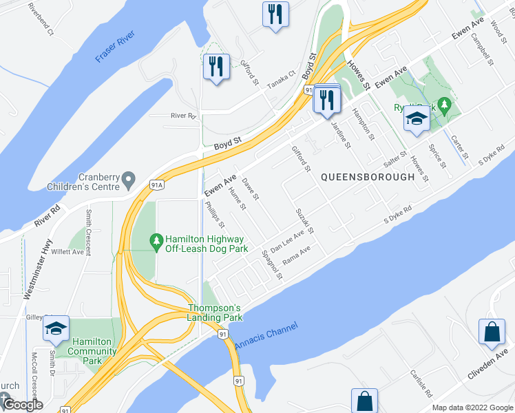 map of restaurants, bars, coffee shops, grocery stores, and more near 232 Dawe Street in New Westminster