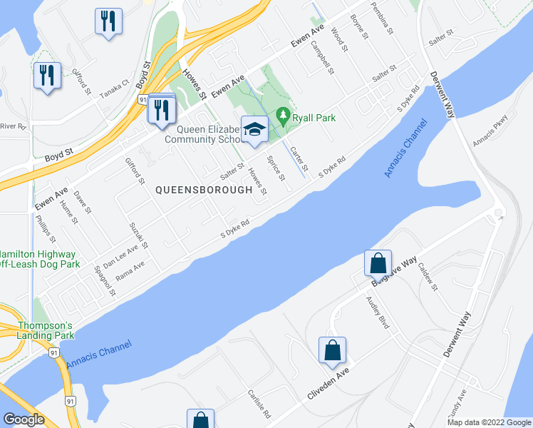 map of restaurants, bars, coffee shops, grocery stores, and more near 83 South Dyke Road in New Westminster