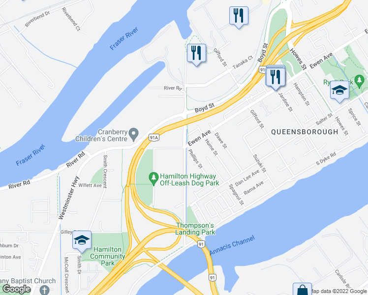 map of restaurants, bars, coffee shops, grocery stores, and more near 4337 Boundary Road in Richmond