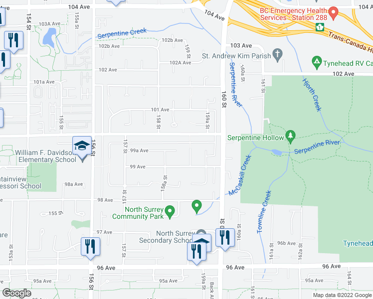 map of restaurants, bars, coffee shops, grocery stores, and more near 15899 99A Avenue in Surrey