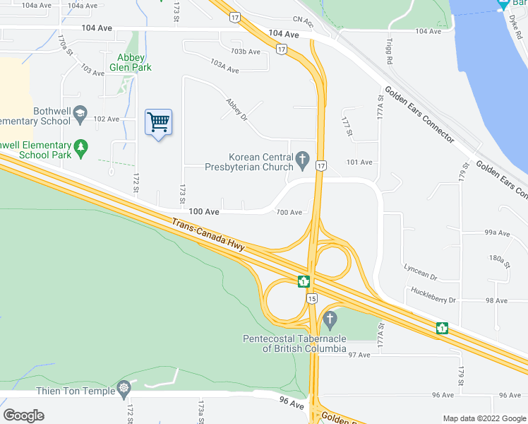 map of restaurants, bars, coffee shops, grocery stores, and more near 17557 100 Avenue in Surrey