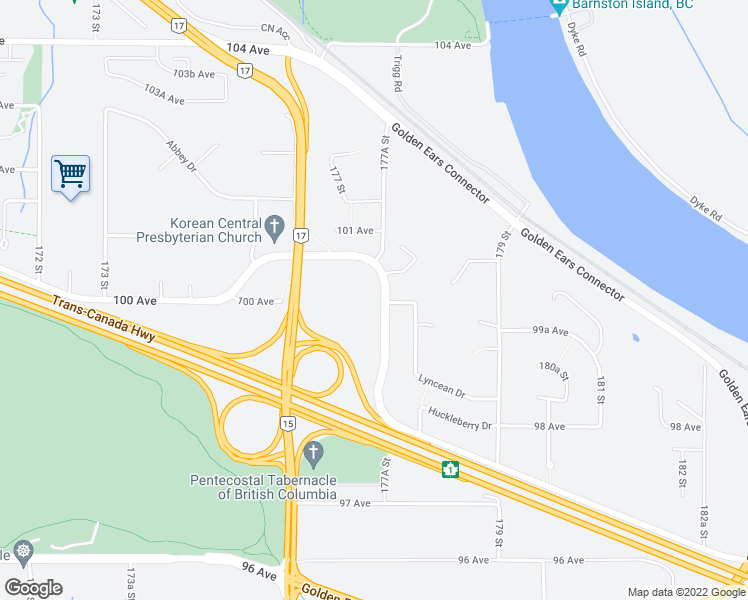 map of restaurants, bars, coffee shops, grocery stores, and more near 9983 Barnston Drive East in Surrey