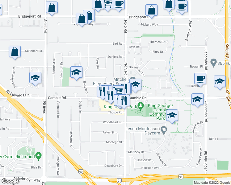 map of restaurants, bars, coffee shops, grocery stores, and more near 11888 Mellis Drive in Richmond