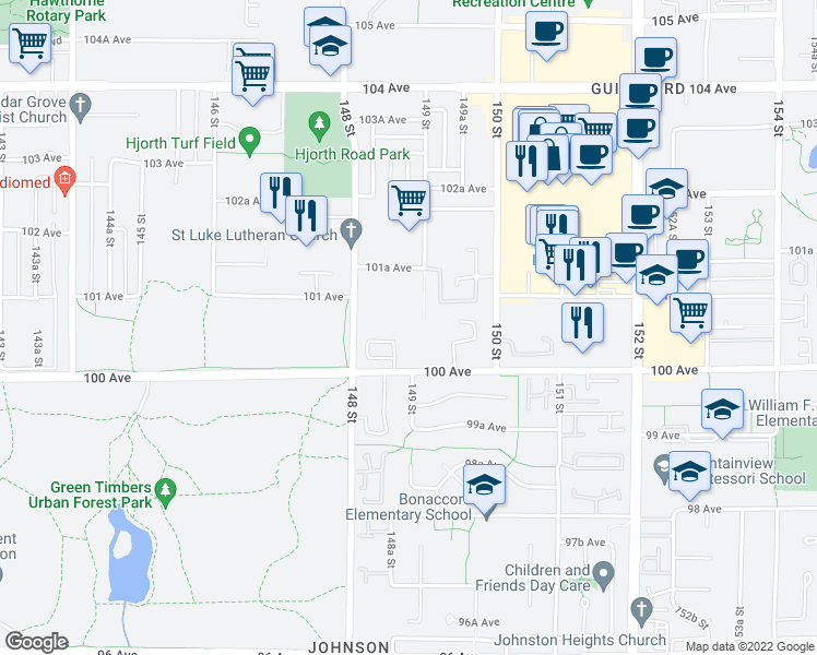 map of restaurants, bars, coffee shops, grocery stores, and more near 10088 148 Street in Surrey