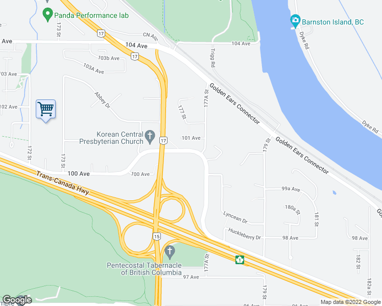map of restaurants, bars, coffee shops, grocery stores, and more near 9989 Barnston Drive East in Surrey