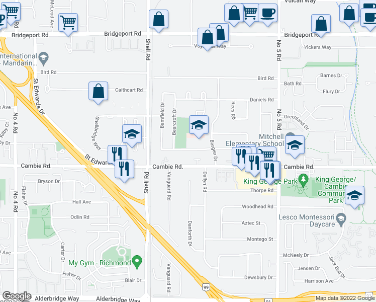 map of restaurants, bars, coffee shops, grocery stores, and more near 11240 Mellis Drive in Richmond