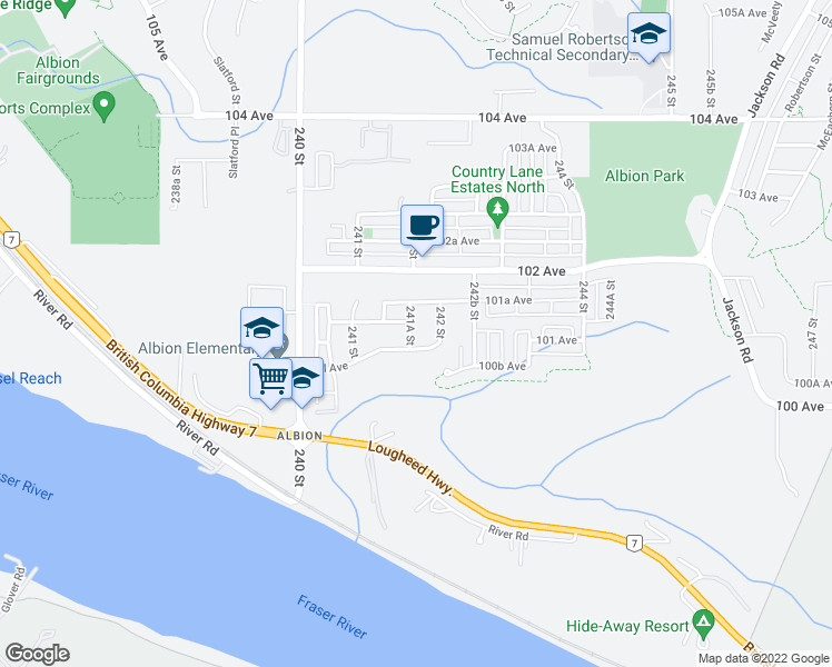 map of restaurants, bars, coffee shops, grocery stores, and more near 10122 241A Street in Maple Ridge