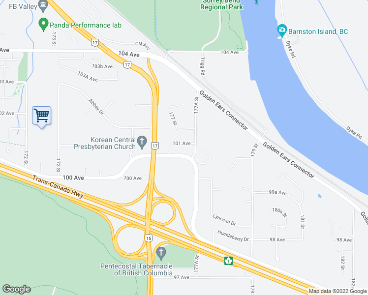 map of restaurants, bars, coffee shops, grocery stores, and more near 17732 101 Avenue in Surrey