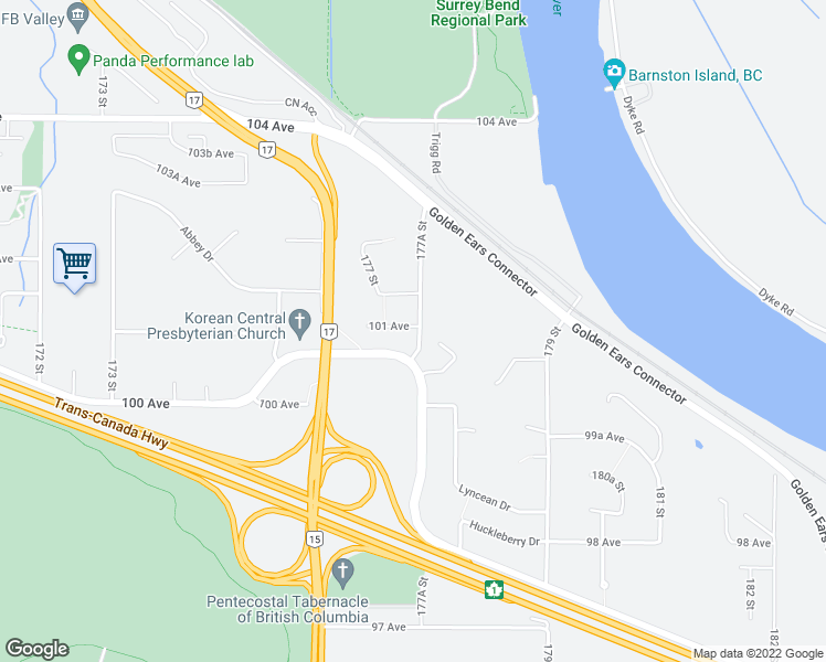 map of restaurants, bars, coffee shops, grocery stores, and more near 17748 101 Avenue in Surrey