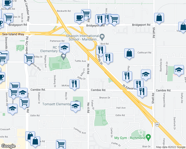 map of restaurants, bars, coffee shops, grocery stores, and more near 10131 Kilby Drive in Richmond