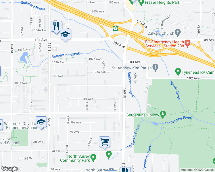 map of restaurants, bars, coffee shops, grocery stores, and more near 15912 101 Avenue in Surrey