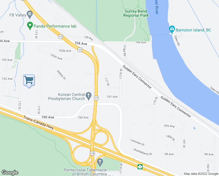 map of restaurants, bars, coffee shops, grocery stores, and more near 17699 101A Avenue in Surrey