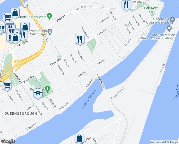 map of restaurants, bars, coffee shops, grocery stores, and more near 160 Pembina Street in New Westminster
