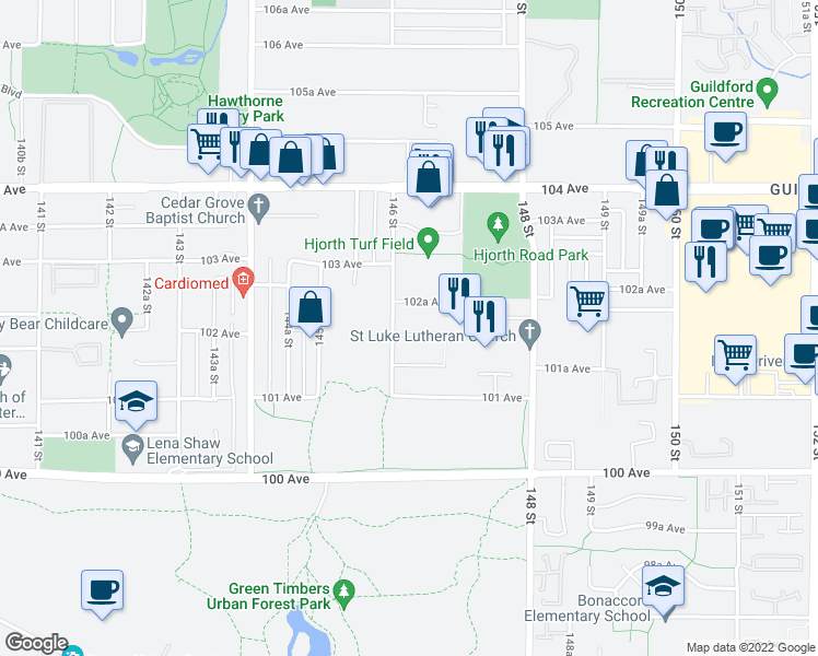 map of restaurants, bars, coffee shops, grocery stores, and more near 14605 102 Avenue in Surrey