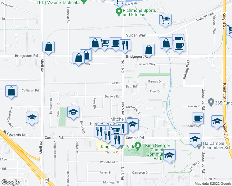 map of restaurants, bars, coffee shops, grocery stores, and more near 11771 Daniels Road in Richmond