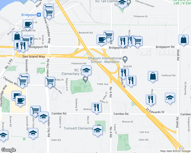 map of restaurants, bars, coffee shops, grocery stores, and more near 9731 Capella Drive in Richmond