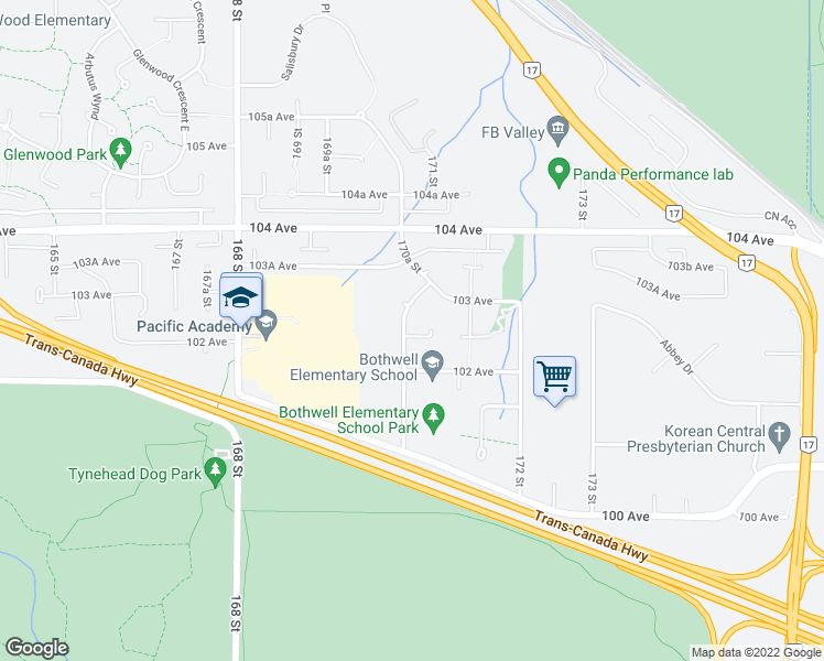 map of restaurants, bars, coffee shops, grocery stores, and more near 10280 170A Street in Surrey