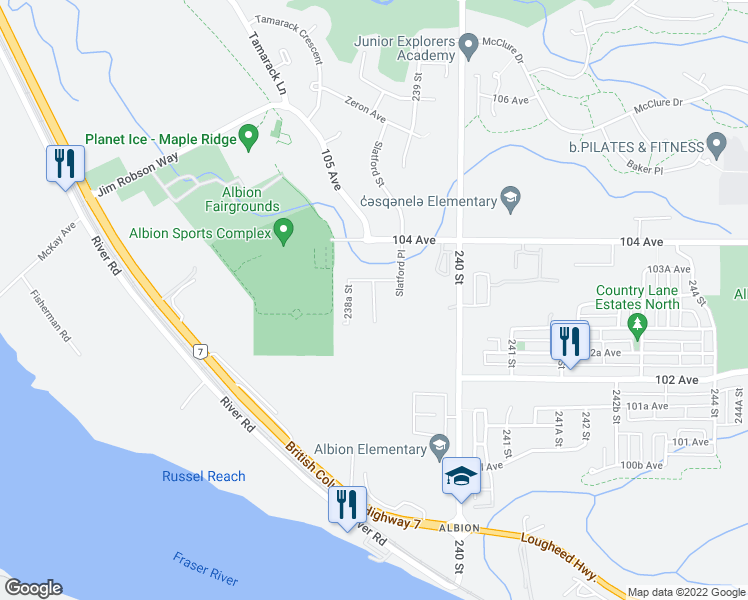map of restaurants, bars, coffee shops, grocery stores, and more near Wynnyk Way in Maple Ridge
