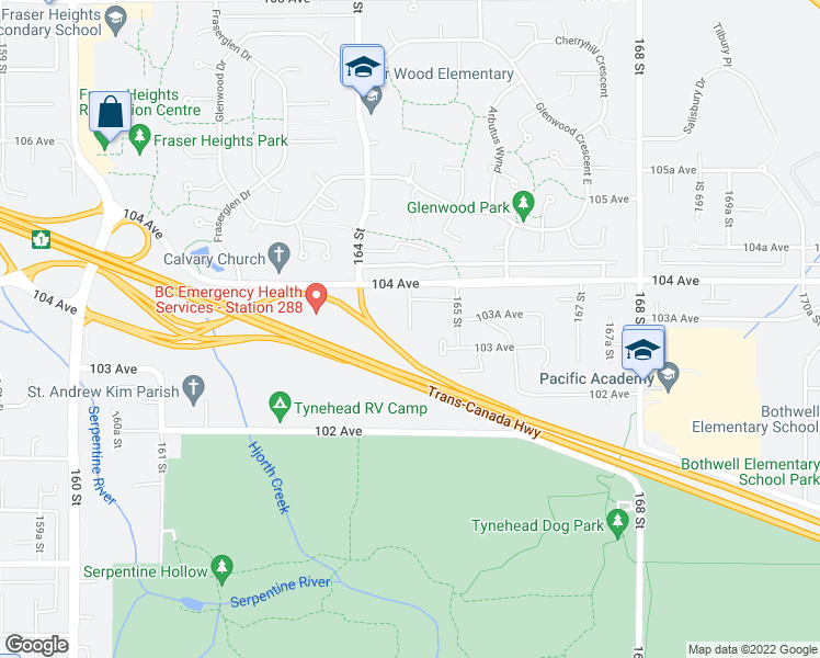 map of restaurants, bars, coffee shops, grocery stores, and more near 10304 164A Street in Surrey