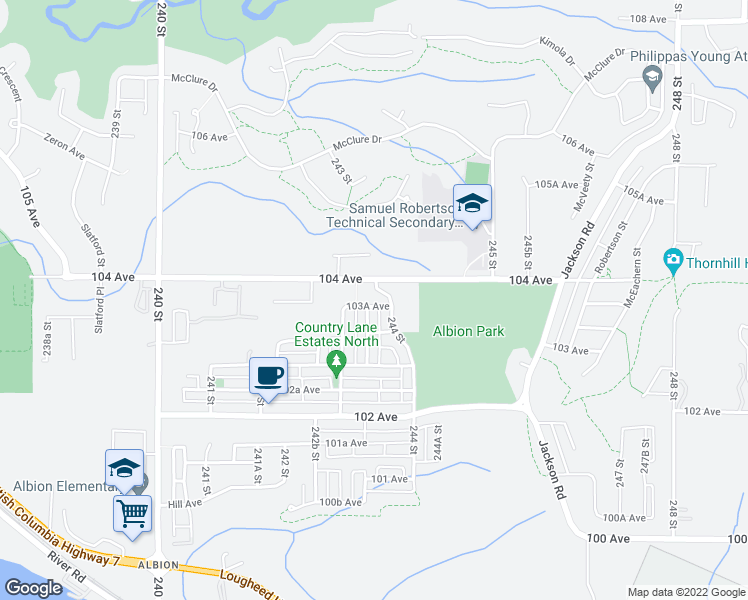 map of restaurants, bars, coffee shops, grocery stores, and more near 24345 103A Avenue in Maple Ridge