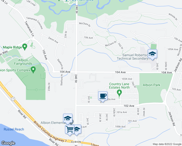 map of restaurants, bars, coffee shops, grocery stores, and more near 24086 104 Avenue in Maple Ridge