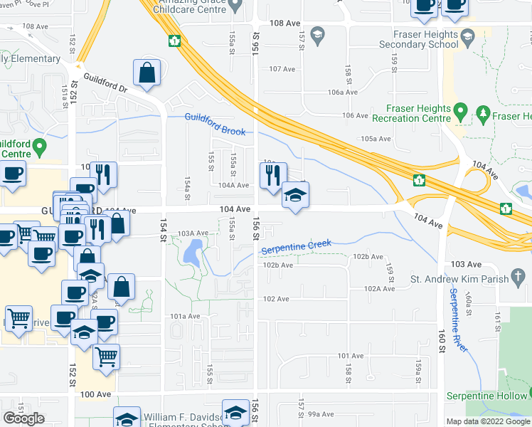 map of restaurants, bars, coffee shops, grocery stores, and more near 15628 104 Avenue in Surrey