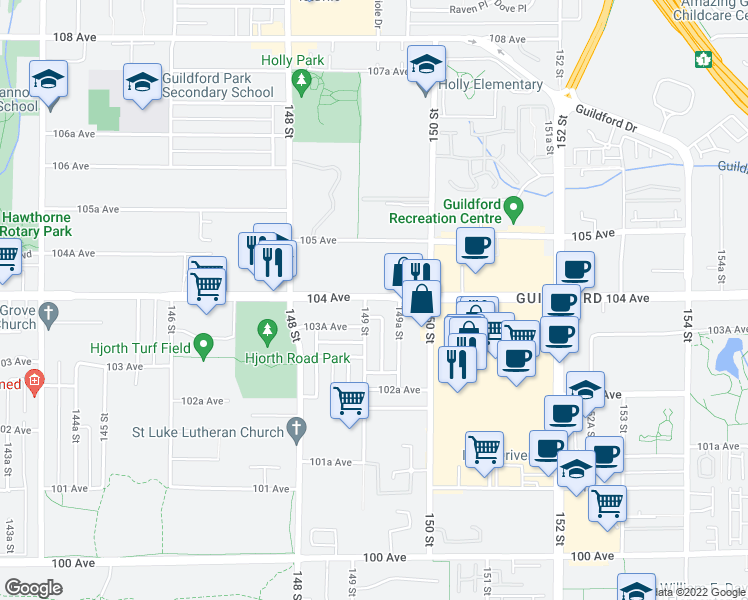 map of restaurants, bars, coffee shops, grocery stores, and more near 14881 103 A Avenue in Surrey