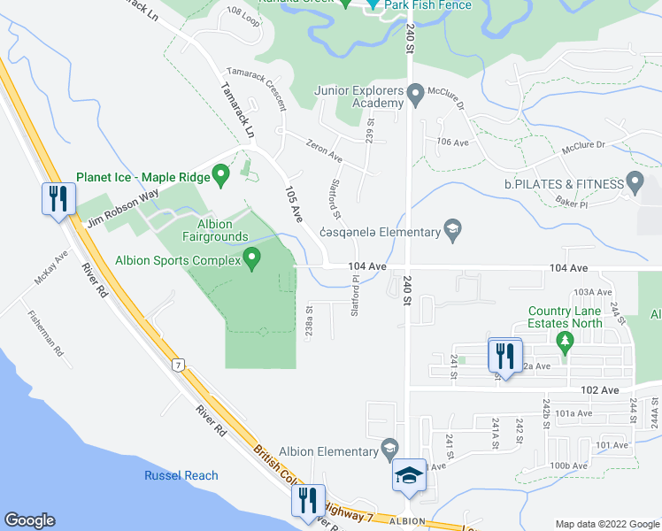 map of restaurants, bars, coffee shops, grocery stores, and more near 23922 104 Avenue in Maple Ridge