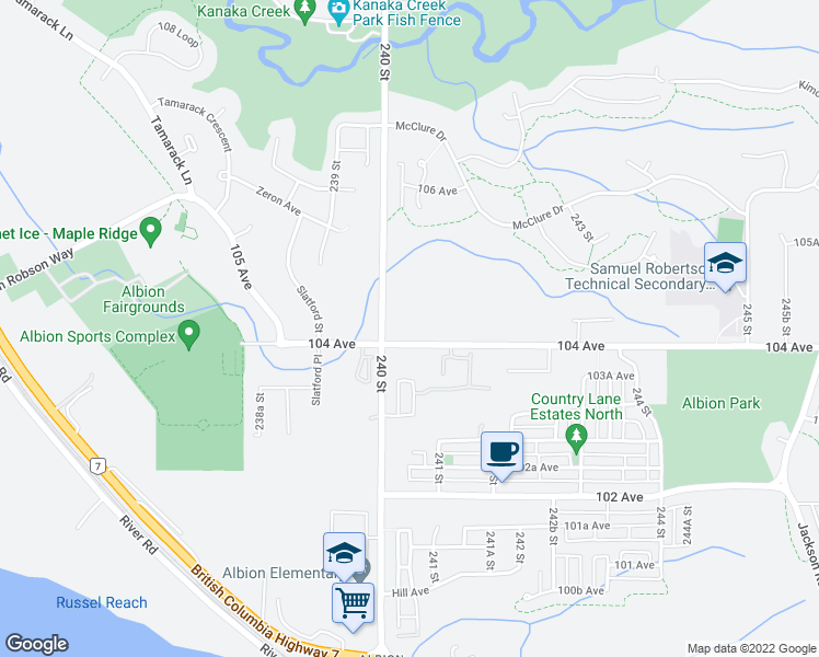 map of restaurants, bars, coffee shops, grocery stores, and more near 24027 104 Avenue in Maple Ridge